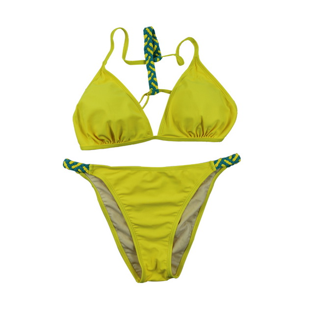 Yellow triangle ladies bikini sets